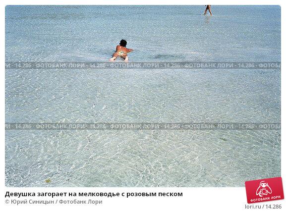 Девушка загорает на мелководье с розовым песком, фото № 14286, снято 22 октября 2016 г. (c) Юрий Синицын / Фотобанк Лори