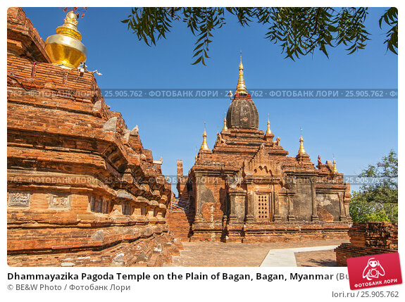 Купить «Dhammayazika Pagoda Temple on the Plain of Bagan, Bagan, Myanmar (Burma)», фото № 25905762, снято 3 июля 2020 г. (c) BE&W Photo / Фотобанк Лори