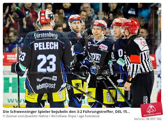 Die Schwenninger Spieler bejubeln den 3:2 Führungstreffer, DEL 15... Стоковое фото, фотограф Zoonar.com/Joachim Hahne / age Fotostock / Фотобанк Лори