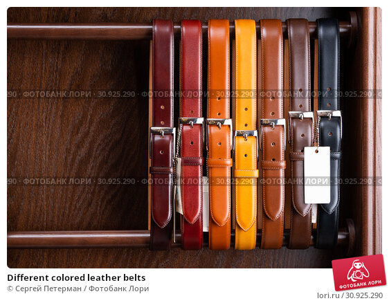 Купить «Different colored leather belts», фото № 30925290, снято 25 июня 2019 г. (c) Сергей Петерман / Фотобанк Лори