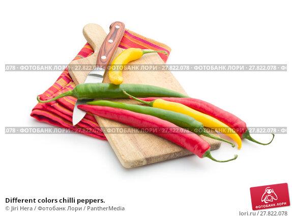 Купить «Different colors chilli peppers.», фото № 27822078, снято 20 октября 2018 г. (c) PantherMedia / Фотобанк Лори