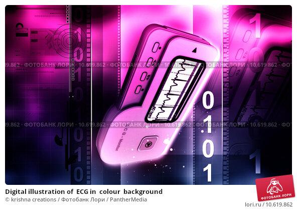 Digital illustration of  ECG in  colour  background. Стоковое фото, фотограф krishna creations / PantherMedia / Фотобанк Лори