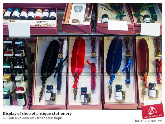 Display of shop of antique stationery. Стоковое фото, фотограф Яков Филимонов / Фотобанк Лори