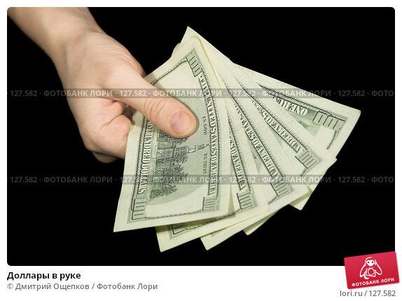 Доллары в руке, фото № 127582, снято 10 февраля 2007 г. (c) Дмитрий Ощепков / Фотобанк Лори