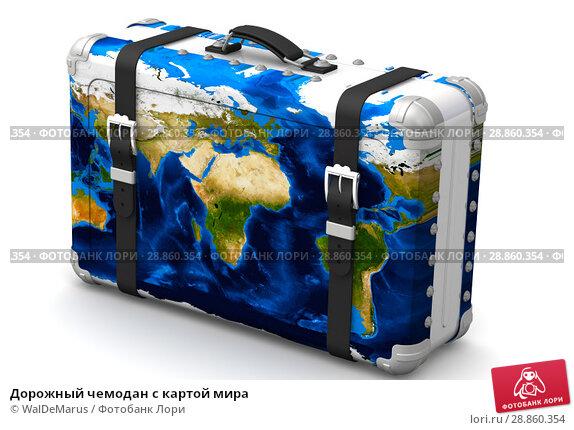 Купить «Дорожный чемодан с картой мира», иллюстрация № 28860354 (c) WalDeMarus / Фотобанк Лори