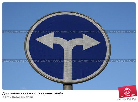 Купить «Дорожный знак на фоне синего неба», фото № 220430, снято 9 марта 2008 г. (c) Fro / Фотобанк Лори