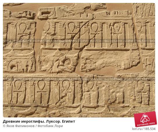 Древние иероглифы. Луксор. Египет, фото № 185534, снято 15 января 2008 г. (c) Яков Филимонов / Фотобанк Лори