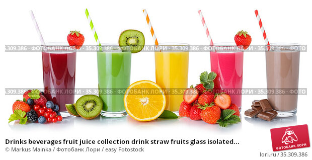 Drinks beverages fruit juice collection drink straw fruits glass isolated... Стоковое фото, фотограф Markus Mainka / easy Fotostock / Фотобанк Лори