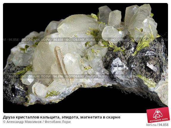 Друза кристаллов кальцита, эпидота, магнетита в скарне, фото № 94858, снято 25 ноября 2006 г. (c) Александр Максимов / Фотобанк Лори