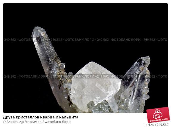 Друза кристаллов кварца и кальцита, фото № 249562, снято 25 ноября 2006 г. (c) Александр Максимов / Фотобанк Лори