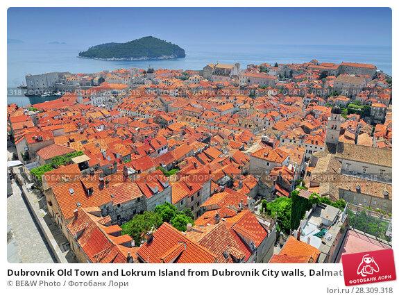 Купить «Dubrovnik Old Town and Lokrum Island from Dubrovnik City walls, Dalmatian Coast, Adriatic, Croatia», фото № 28309318, снято 21 апреля 2018 г. (c) BE&W Photo / Фотобанк Лори