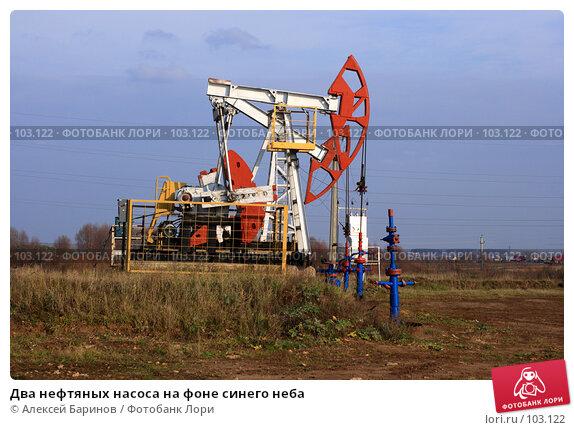 Два нефтяных насоса на фоне синего неба, фото № 103122, снято 26 июля 2017 г. (c) Алексей Баринов / Фотобанк Лори