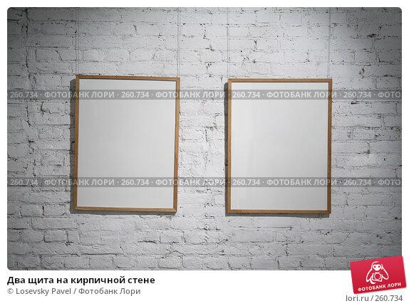 Два щита на кирпичной стене, фото № 260734, снято 23 июня 2017 г. (c) Losevsky Pavel / Фотобанк Лори