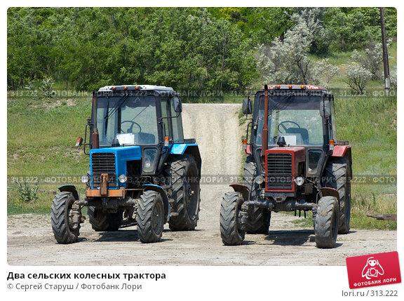 Два сельских колесных трактора, фото № 313222, снято 4 июня 2008 г. (c) Сергей Старуш / Фотобанк Лори