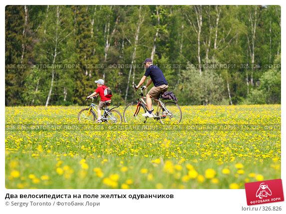 Купить «Два велосипедиста на поле желтых одуванчиков», фото № 326826, снято 18 мая 2008 г. (c) Sergey Toronto / Фотобанк Лори