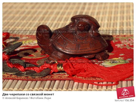 Купить «Две черепахи со связкой монет», фото № 156354, снято 4 октября 2007 г. (c) Алексей Баринов / Фотобанк Лори