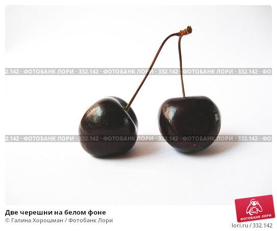 Купить «Две черешни на белом фоне», фото № 332142, снято 20 июня 2008 г. (c) Галина Хорошман / Фотобанк Лори