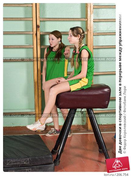 Две девочки в спортивном зале в перерыве между упражнениями, фото № 206754, снято 10 февраля 2008 г. (c) Федор Королевский / Фотобанк Лори
