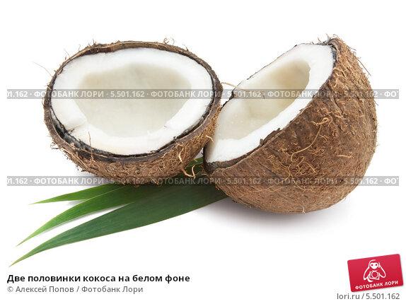 Купить «Две половинки кокоса на белом фоне», фото № 5501162, снято 8 июля 2010 г. (c) Алексей Попов / Фотобанк Лори
