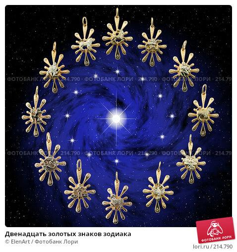 Двенадцать золотых знаков зодиака, иллюстрация № 214790 (c) ElenArt / Фотобанк Лори
