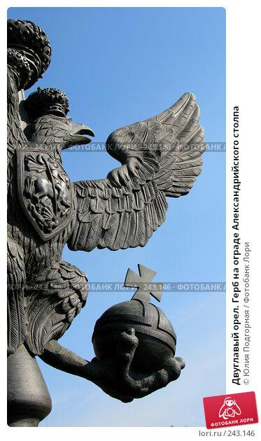 Двуглавый орел. Герб на ограде Александрийского столпа, фото № 243146, снято 5 апреля 2008 г. (c) Юлия Селезнева / Фотобанк Лори