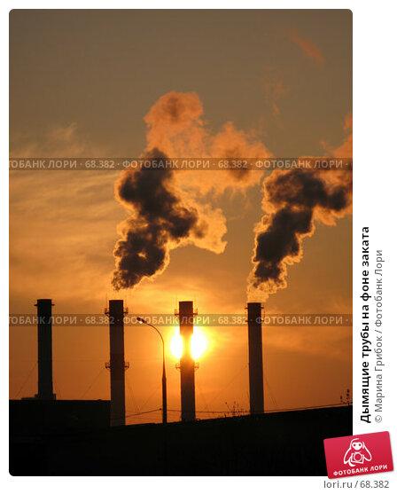 Дымящие трубы на фоне заката, фото № 68382, снято 2 мая 2007 г. (c) Марина Грибок / Фотобанк Лори