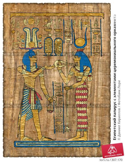 Египетский папирус с элементами церемониального орнамента, фото № 307170, снято 30 марта 2017 г. (c) Даниил Кириллов / Фотобанк Лори