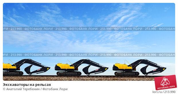 Экскаваторы на рельсах, фото № 213990, снято 5 января 2008 г. (c) Анатолий Теребенин / Фотобанк Лори
