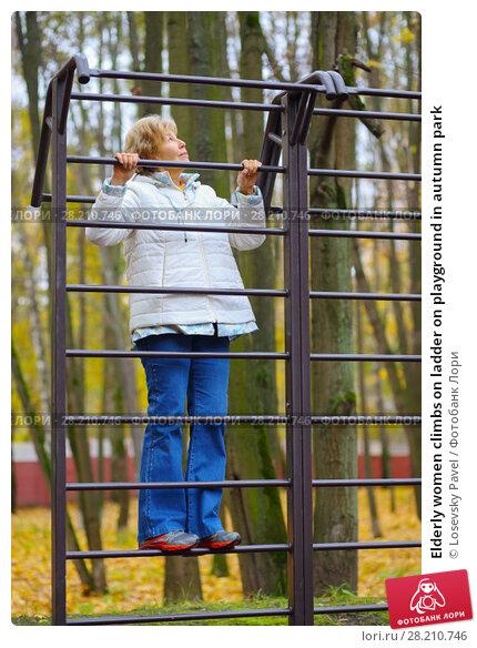 Купить «Elderly women climbs on ladder on playground in autumn park», фото № 28210746, снято 6 октября 2016 г. (c) Losevsky Pavel / Фотобанк Лори