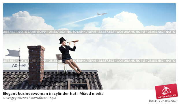 Купить «Elegant businesswoman in cylinder hat . Mixed media», фото № 23837562, снято 22 мая 2019 г. (c) Sergey Nivens / Фотобанк Лори