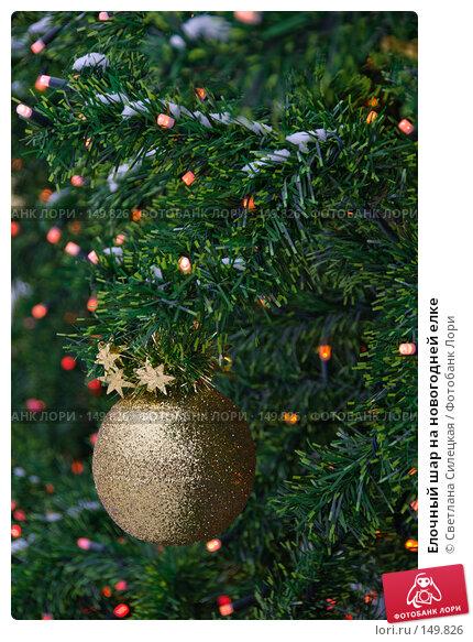 Купить «Елочный шар на новогодней елке», фото № 149826, снято 17 декабря 2007 г. (c) Светлана Силецкая / Фотобанк Лори
