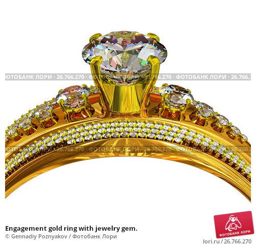 Купить «Engagement gold ring with jewelry gem.», иллюстрация № 26766270 (c) Gennadiy Poznyakov / Фотобанк Лори