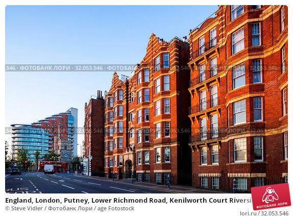 England, London, Putney, Lower Richmond Road, Kenilworth Court Riverside Residential Flats and Apartments. Стоковое фото, фотограф Steve Vidler / age Fotostock / Фотобанк Лори