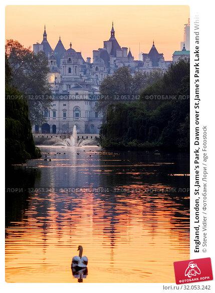 England, London, St.Jame's Park, Dawn over St.Jame's Park Lake and Whitehall Skyline. Стоковое фото, фотограф Steve Vidler / age Fotostock / Фотобанк Лори
