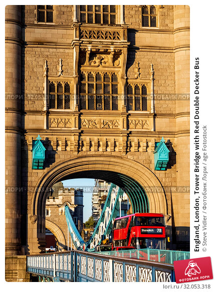 England, London, Tower Bridge with Red Double Decker Bus. Стоковое фото, фотограф Steve Vidler / age Fotostock / Фотобанк Лори
