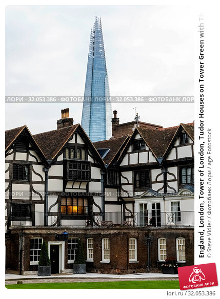 England, London, Tower of London, Tudor Houses on Tower Green with The Shard in The Background. Стоковое фото, фотограф Steve Vidler / age Fotostock / Фотобанк Лори