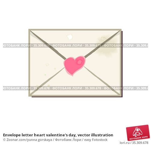 Envelope letter heart valentine's day, vector illustration. Стоковое фото, фотограф Zoonar.com/yunna gorskaya / easy Fotostock / Фотобанк Лори