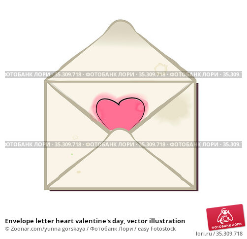 Envelope letter heart valentine's day, vector illustration. Стоковое фото, фотограф Zoonar.com/yunna gorskaya / easy Fotostock / Фотобанк Лори