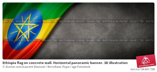 Ethiopia flag on concrete wall. Horizontal panoramic banner. 3D illustration. Стоковое фото, фотограф Zoonar.com/Laurent Davoust / age Fotostock / Фотобанк Лори