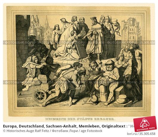 Europa, Deutschland, Sachsen-Anhalt, Memleben, Originaltext : ' Heinrich... Редакционное фото, фотограф Historisches Auge Ralf Feltz / age Fotostock / Фотобанк Лори