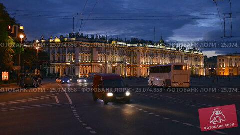Evening Traffic In St Petersburg The Hermitage Time Lapse Photography (2016 год). Редакционное видео, видеограф Владимир Ковальчук / Фотобанк Лори