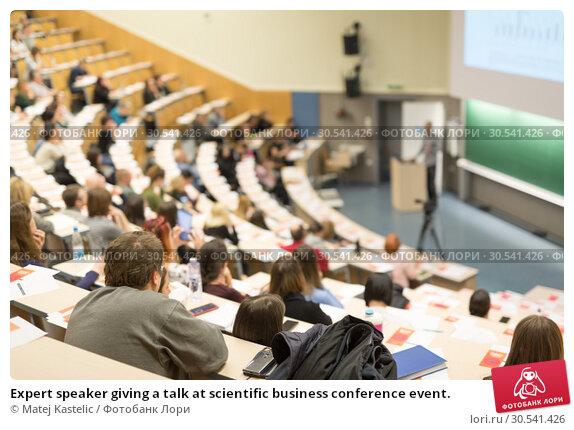 Купить «Expert speaker giving a talk at scientific business conference event.», фото № 30541426, снято 14 марта 2019 г. (c) Matej Kastelic / Фотобанк Лори