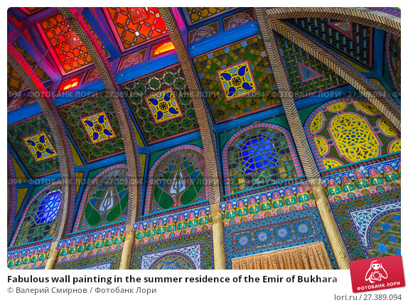 Купить «Fabulous wall painting in the summer residence of the Emir of Bukhara», фото № 27389094, снято 20 августа 2016 г. (c) Валерий Смирнов / Фотобанк Лори