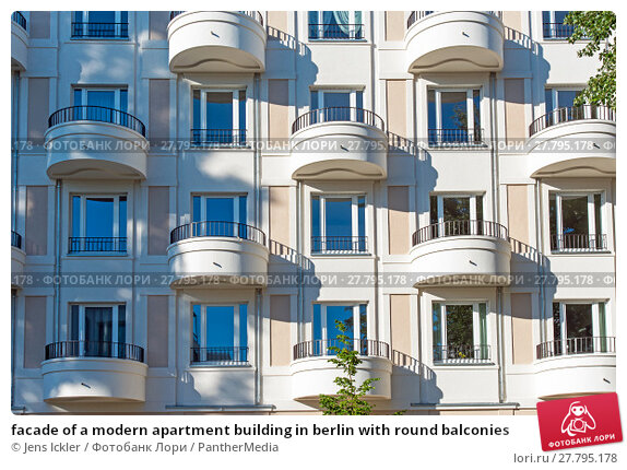 Купить «facade of a modern apartment building in berlin with round balconies», фото № 27795178, снято 22 февраля 2018 г. (c) PantherMedia / Фотобанк Лори