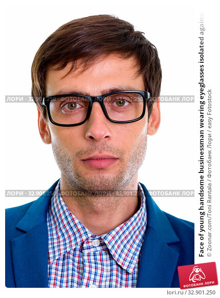 Face of young handsome businessman wearing eyeglasses isolated against white background. Стоковое фото, фотограф Zoonar.com/Toni Rantala / easy Fotostock / Фотобанк Лори