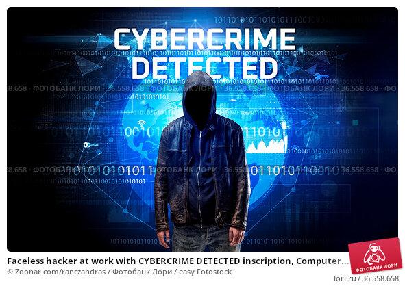 Faceless hacker at work with CYBERCRIME DETECTED inscription, Computer... Стоковое фото, фотограф Zoonar.com/ranczandras / easy Fotostock / Фотобанк Лори