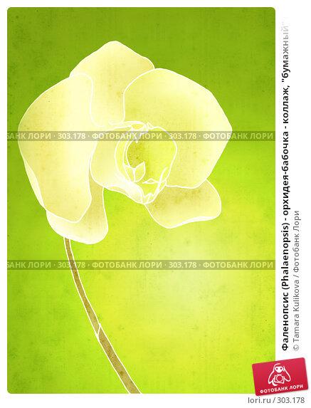 "Фаленопсис (Phalaenopsis) - орхидея-бабочка - коллаж, ""бумажный"" фон, иллюстрация № 303178 (c) Tamara Kulikova / Фотобанк Лори"