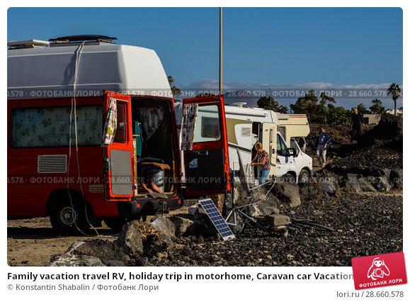 Купить «Family vacation travel RV, holiday trip in motorhome, Caravan car Vacation», фото № 28660578, снято 20 декабря 2017 г. (c) Konstantin Shabalin / Фотобанк Лори