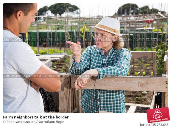 Farm neighbors talk at the border. Стоковое фото, фотограф Яков Филимонов / Фотобанк Лори