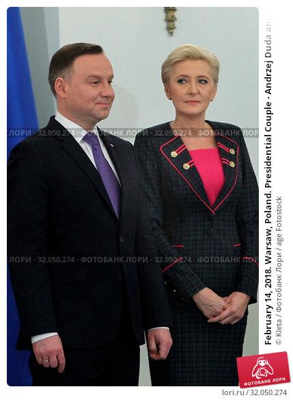 February 14, 2018. Warsaw, Poland. Presidential Couple - Andrzej Duda and Agata Duda. Редакционное фото, фотограф Kleta / age Fotostock / Фотобанк Лори